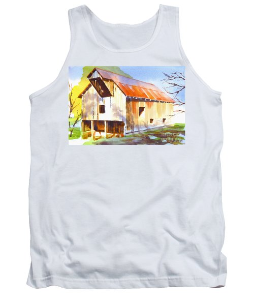 Missouri Barn In Watercolor Tank Top
