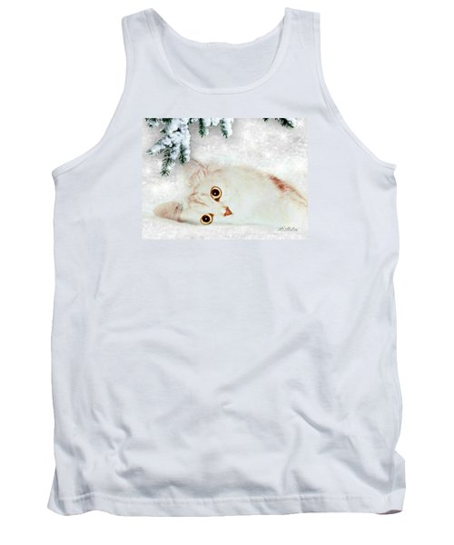 Tank Top featuring the mixed media Mistletoe In The Snow by Morag Bates