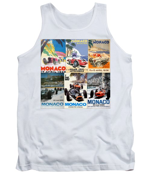 Monaco F1 Grand Prix Vintage Poster Collage Tank Top
