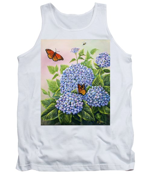 Monarchs And Hydrangeas Tank Top by Gail Butler
