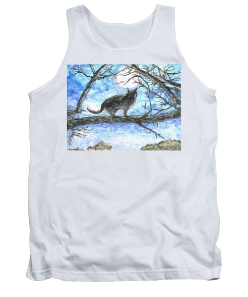 Tank Top featuring the painting Moon Cat by Teresa White