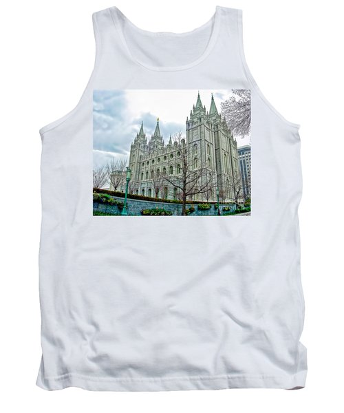Mormon Temple In Early Spring Tank Top by Gary Holmes