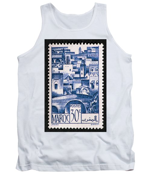 Morocco Vintage Postage Stamp Tank Top by Andy Prendy