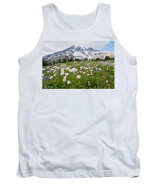 Mount Rainier And A Meadow Of Aster Tank Top