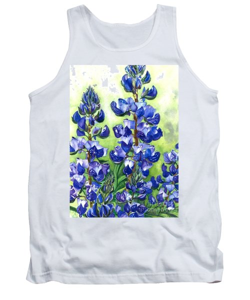 Tank Top featuring the painting Mountain Blues Lupine Study by Barbara Jewell
