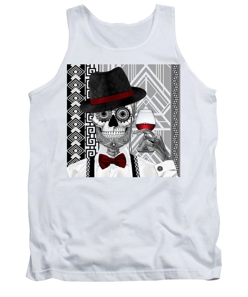 Mr. J.d. Vanderbone - Day Of The Dead 1920's Sugar Skull - Copyrighted Tank Top by Christopher Beikmann