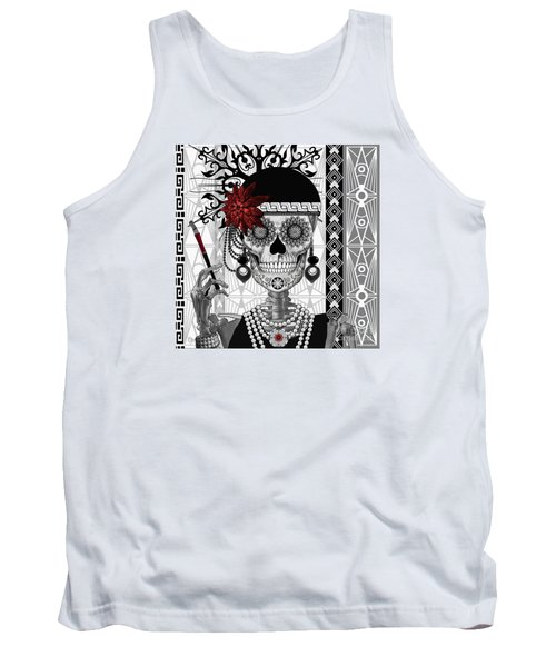 Mrs. Gloria Vanderbone - Day Of The Dead 1920's Flapper Girl Sugar Skull - Copyrighted Tank Top by Christopher Beikmann