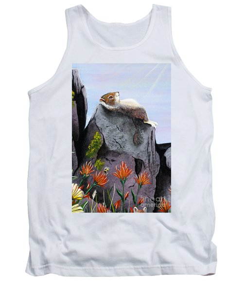 Tank Top featuring the painting Ms. Elizabeth Taking In The Rays by Jennifer Lake