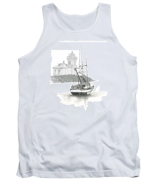 Tank Top featuring the drawing Mukilteo Lighthouse by Terry Frederick