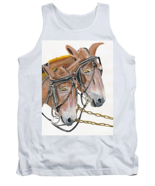 Tank Top featuring the painting Mules - Two - Beast Of Burden by Jan Dappen