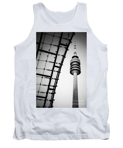 Munich - Olympiaturm And The Roof - Bw Tank Top by Hannes Cmarits