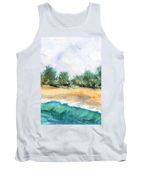 Tank Top featuring the painting My Secret Beach by Marionette Taboniar