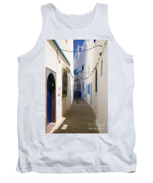 Tank Top featuring the photograph Narrow Backstreet In The Medina Of Asilah On Northwest Tip Of Atlantic Coast Of Morocco by Ralph A  Ledergerber-Photography