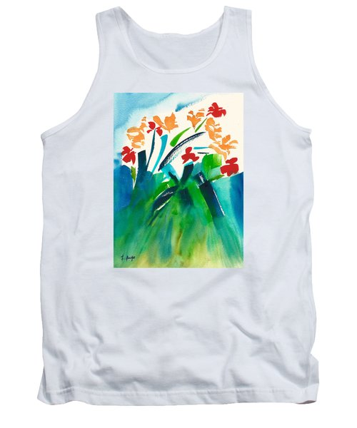 Tank Top featuring the painting Natures Bouquet Abstract by Frank Bright