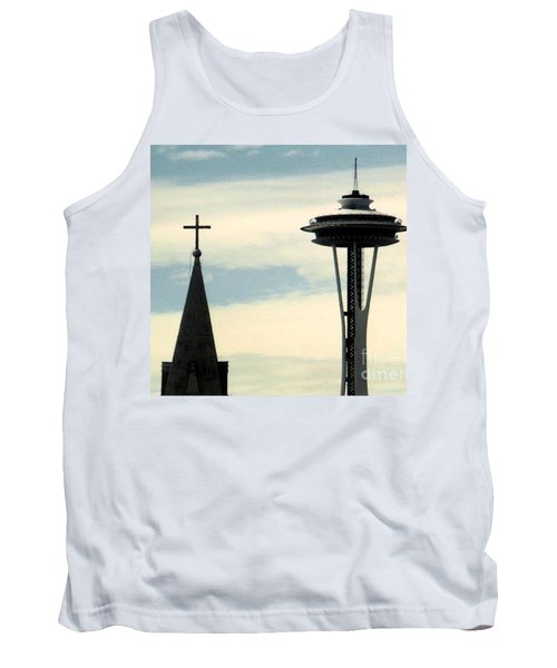 Tank Top featuring the photograph Seattle Washington Space  Needle Steeple And Cross by Michael Hoard