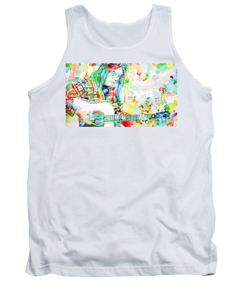 Neil Young Playing The Guitar - Watercolor Portrait.1 Tank Top