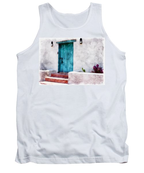 New Mexico Turquoise Door And Cactus  Tank Top by Barbara Chichester