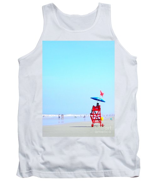 Tank Top featuring the digital art New Smyrna Lifeguard by Valerie Reeves