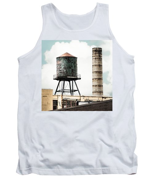 Tank Top featuring the photograph Water Tower And Smokestack In Brooklyn New York - New York Water Tower 12 by Gary Heller