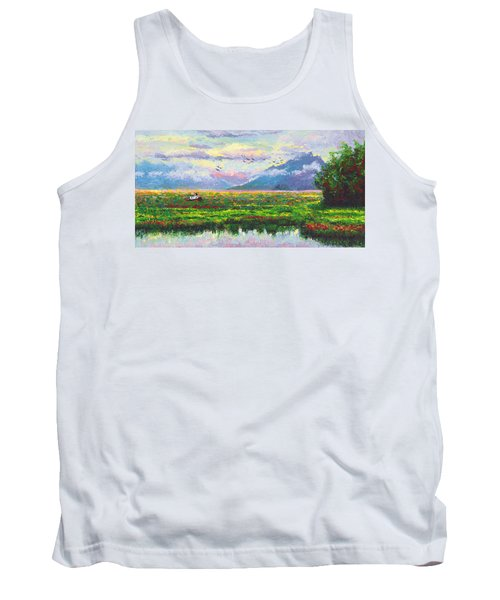 Nomad - Alaska Landscape With Joe Redington's Boat In Knik Alaska Tank Top