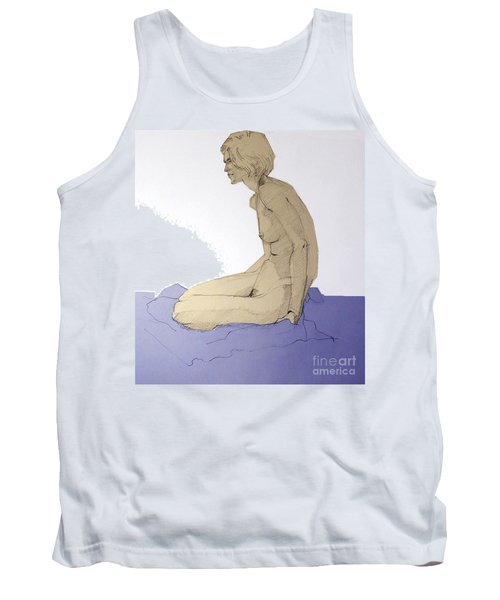 Tank Top featuring the drawing Nude Figure In Blue by Greta Corens