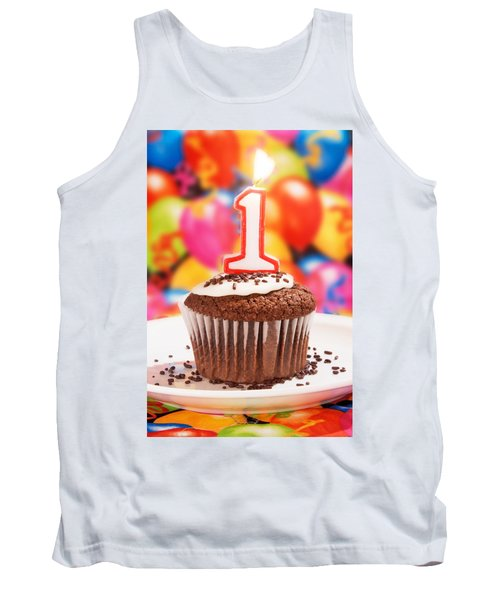 Tank Top featuring the photograph Chocolate Cupcake With One Burning Candle by Vizual Studio