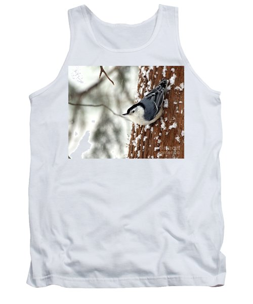 Nuthatch In Snow Storm Tank Top by Paula Guttilla