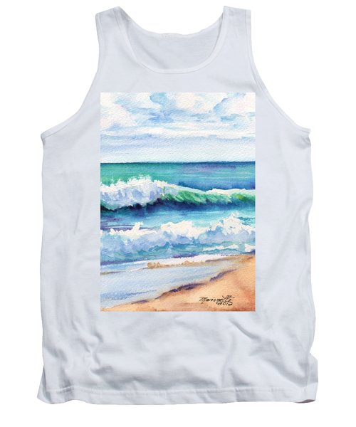 Tank Top featuring the painting Ocean Waves Of Kauai I by Marionette Taboniar