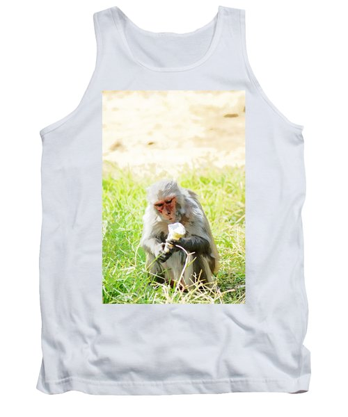 Oil Painting - A Monkey Eating An Ice Cream Tank Top