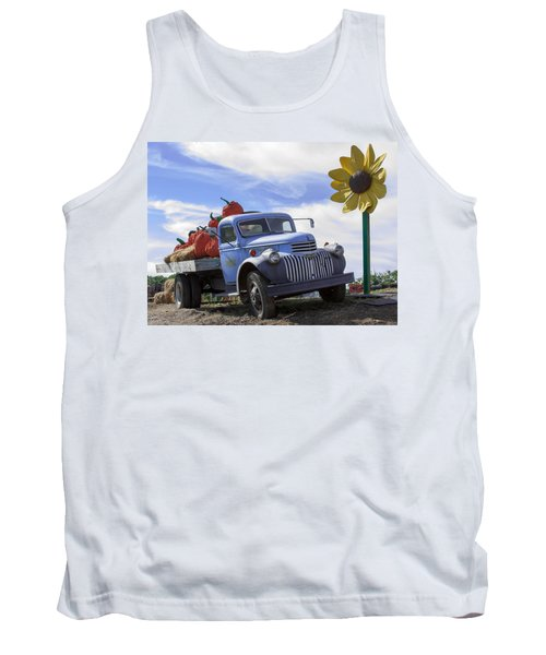 Tank Top featuring the photograph Old Blue Farm Truck  by Patrice Zinck
