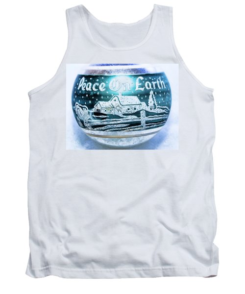 Tank Top featuring the photograph Christmas Tree Ornament Peace On Earth  by Vizual Studio