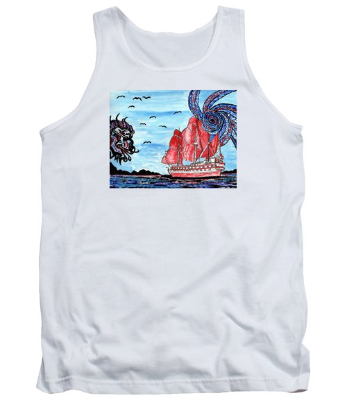 Tank Top featuring the painting Old Man And The Sea by Connie Valasco