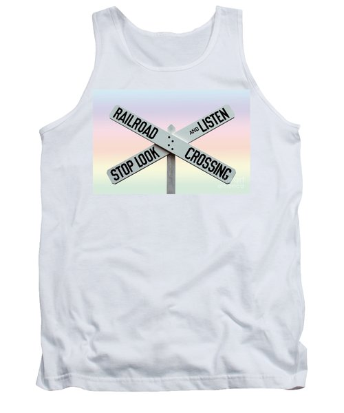 Old Railroad Crossing Sign Tank Top