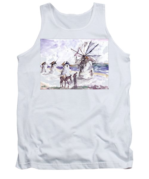 Tank Top featuring the painting Old Windmills At Bodrum by Faruk Koksal