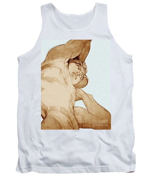Tank Top featuring the drawing Olympic Athletics Discus Throw by Greta Corens