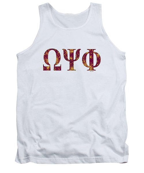Tank Top featuring the digital art Omega Psi Phi - White by Stephen Younts