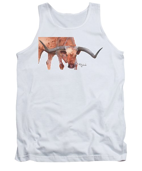 On The Level Texas Longhorn Watercolor Painting By Kmcelwaine Tank Top by Kathleen McElwaine
