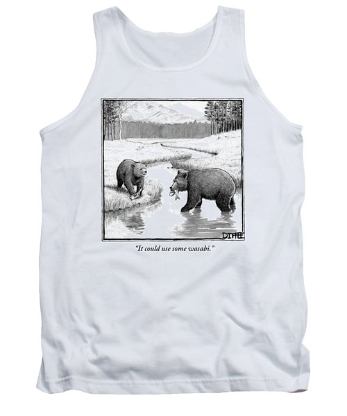 One Bear Speaks To Another As They Catch Fish Tank Top