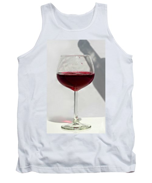 One Glass Of Red Wine With Bottle Shadow Art Prints Tank Top