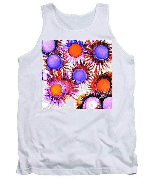Orange And Purple Alcohol Inks Abstract Tank Top by Danielle  Parent