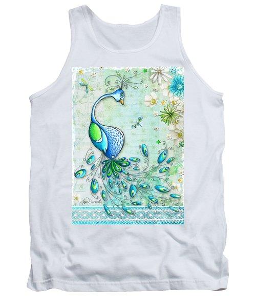 Original Peacock Painting Bird Art By Megan Duncanson Tank Top