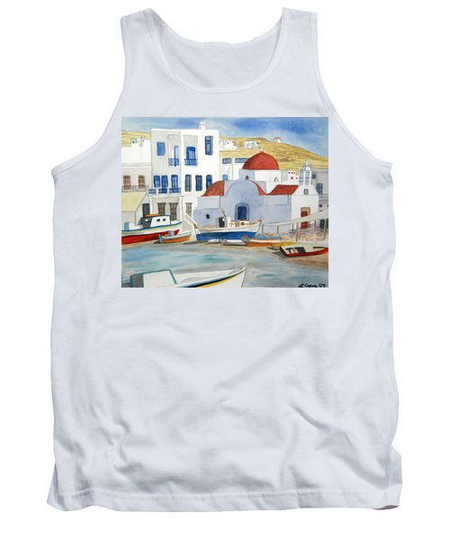 Watercolor - Mykonos Greece Detail Tank Top