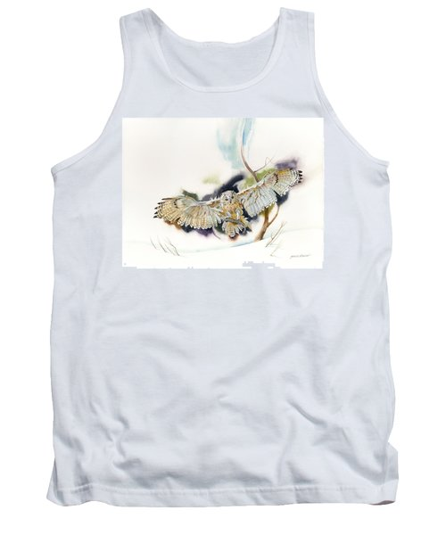 Tank Top featuring the painting Owl Catches Lunch by John Norman Stewart