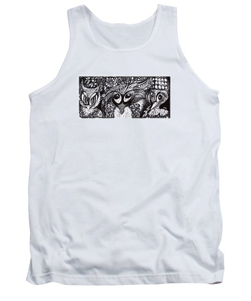 Tank Top featuring the drawing Owls Eyes by Adria Trail