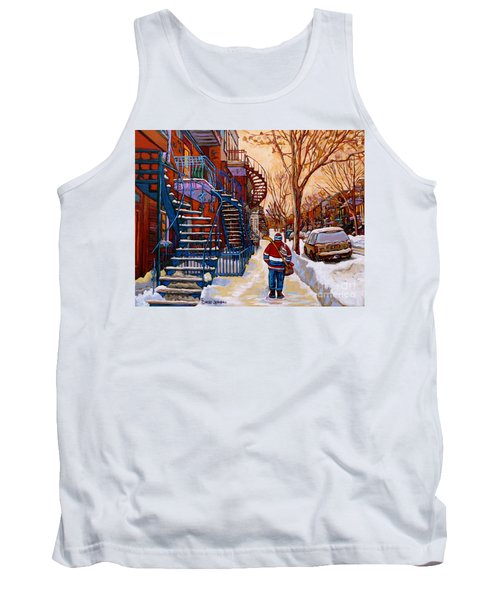 Paintings Of Montreal Beautiful Staircases In Winter Walking Home After The Game By Carole Spandau Tank Top