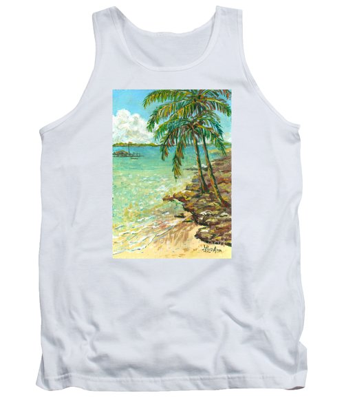Palms On Point Of Rocks Tank Top by Lou Ann Bagnall