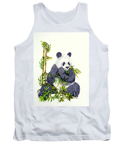 Tank Top featuring the drawing Panda  by Terri Mills