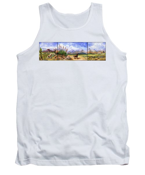 Panorama Triptych Don't Fence Me In  Tank Top by Marilyn Smith
