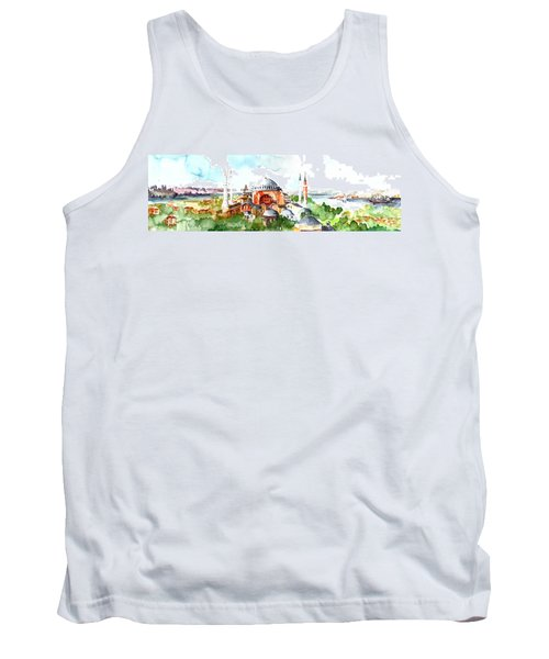 Tank Top featuring the painting Panoramic Hagia Sophia In Istanbul by Faruk Koksal