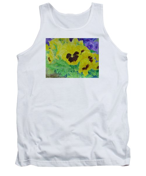 Pansies Colorful Flowers Floral Garden Art Painting Bright Yellow Pansy Original  Tank Top